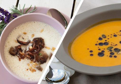 Lavendelblüten und Hokkaidosuppe