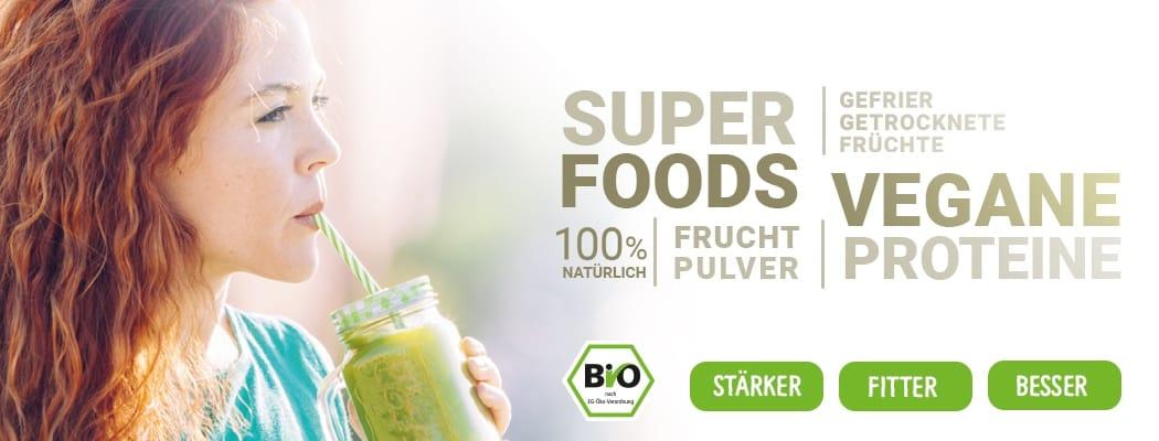 Superfoods, gefriegetrocknete Fruechte und_Proteine